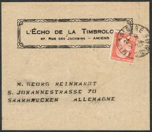 Beleg 4 EF 30 C rouge  Zeitungsstreifband
