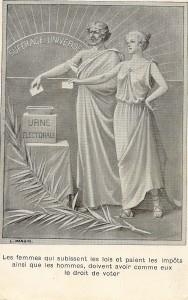 Propagandakarte für das Frauenwahlrecht
